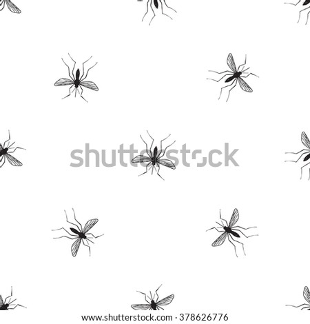 Zika virus malaria alert. Hand drawn black graphic sketch mosquito on white background. Signaling seamless pattern ideas for informational and institutional sanitation - stock vector