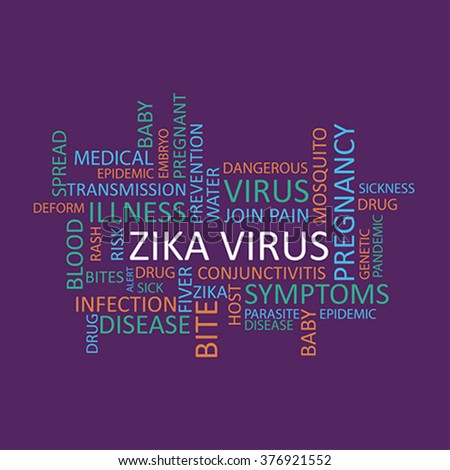 Zika virus tag cloud in many languages, vector - stock vector
