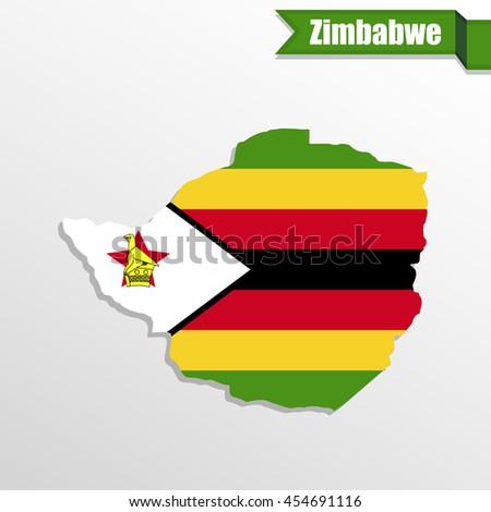 Flag National Coat Arms Republic Zimbabwe Stock Illustration - Republic of zimbabwe map