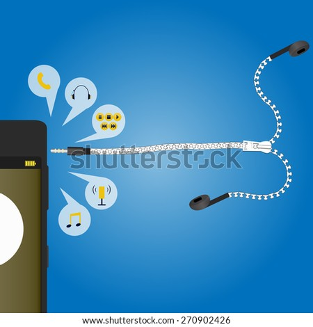 zip ear plug design for phone  - stock vector