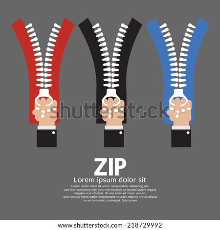 Zip With Hand Collection Vector Illustration - stock vector