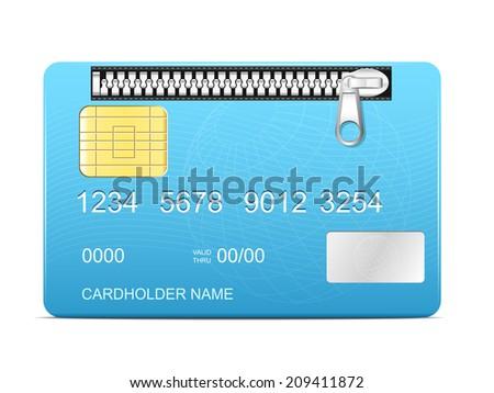 Zipped credit card - stock vector