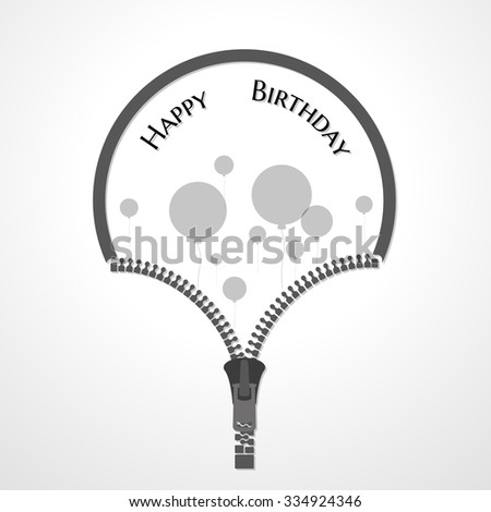 zipper and wish for birthday with circle balloons - stock vector