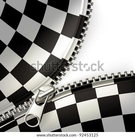 Zipper, checkered vector - stock vector