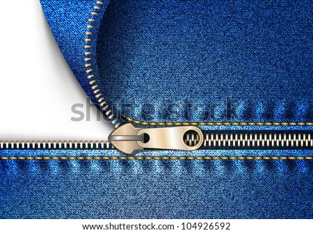 zipper jeans - stock vector
