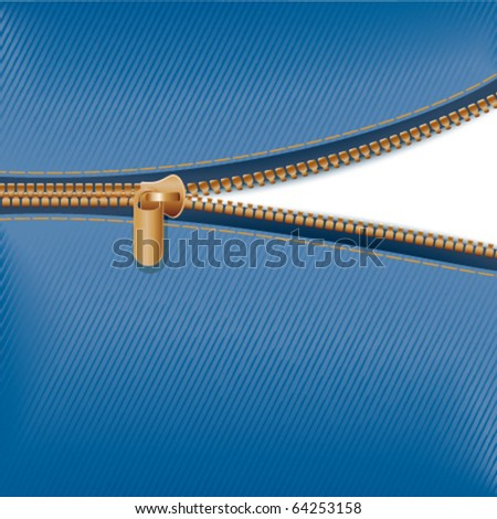 Zipper with blue fabric - stock vector