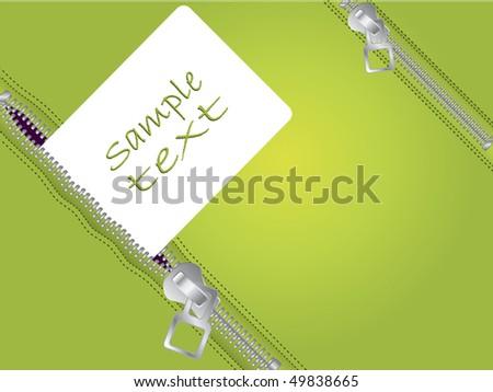 Zippers in green - stock vector