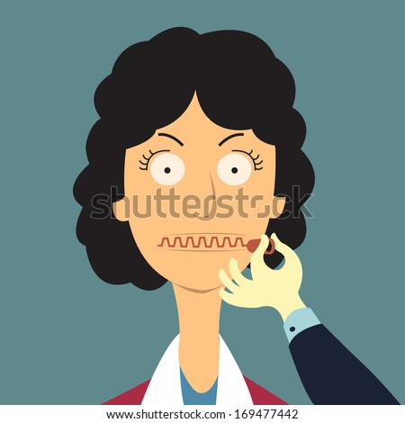 Zipping her mouth, abstract background in shut up concept. Vector illustration.  - stock vector