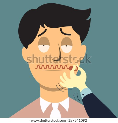 Zipping his mouth, abstract background in shut up concept. Vector illustration.  - stock vector