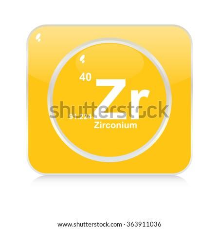 zirconium chemical element button - stock vector