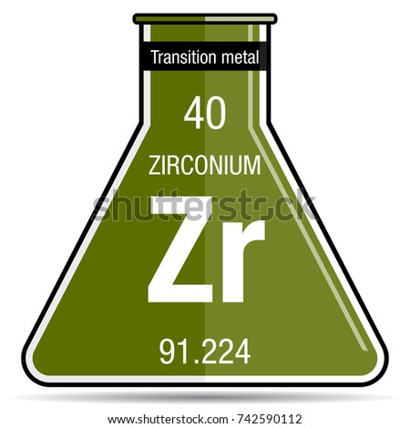 Zirconium symbol on chemical flask element stock vector 742590112 zirconium symbol on chemical flask element number 40 of the periodic table of the elements urtaz Gallery