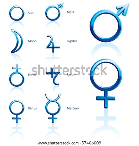 Zodiac and astrology symbols of the planets - stock vector