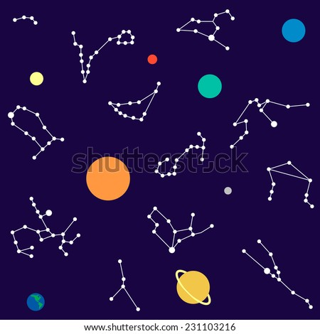 Zodiac and planet set seamless pattern - stock vector
