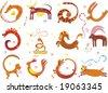 zodiac animals - stock vector