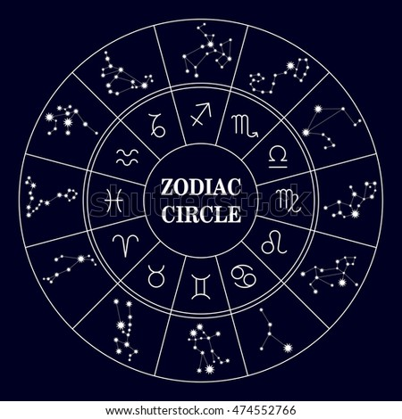 Zodiac circle, zodiac constellations . Set of icons. Astrology sing. Astronomy symbol. Vector illustration