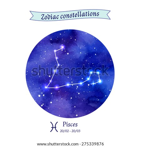 Zodiac constellation. Pisces. The Fish. Vector illustration  - stock vector