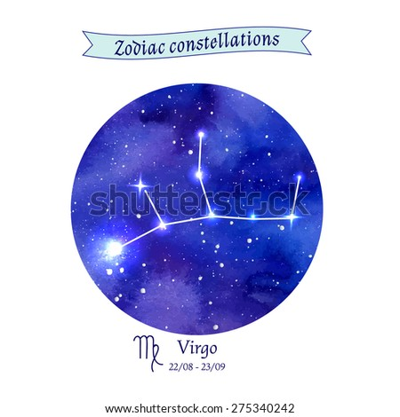 Zodiac constellation. Virgo. The Maiden. Vector illustration - stock vector
