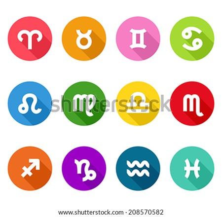 Zodiac flat icons - stock vector