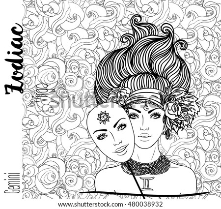 Zodiac: Gemini zodiac sign. Vector illustration with portrait of a pretty girl with a mask. Black, white  drawing over ornate pattern. Horoscope coloring book page for adults.