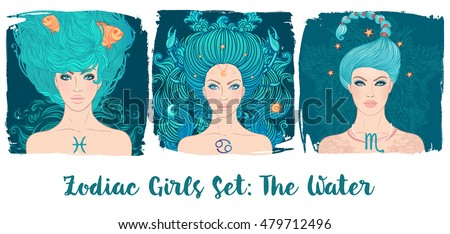 Zodiac girls set: Water. Vector illustration of Pisces, Cancer, Scorpio astrological signs as a beautiful woman. Future telling, horoscope, alchemy, spirituality, occultism, fashion.
