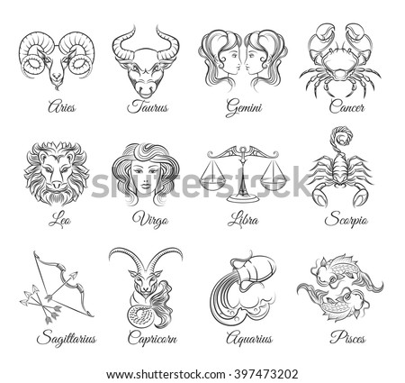 Zodiac graphic signs vector. Astrological zodiac symbols or zodiac icons - stock vector