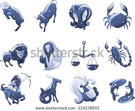 Zodiac icon illustrations cartoon vector illustration