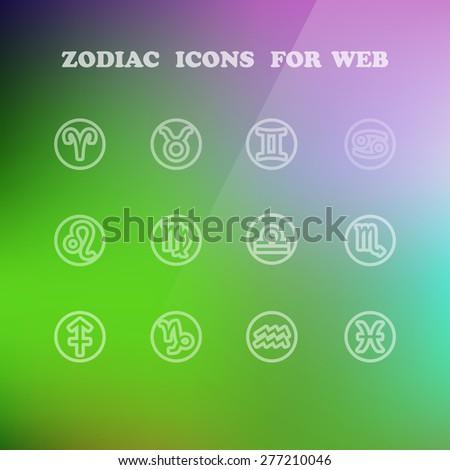 Zodiac icons for your design eps 10, vector elegant illustration - stock vector