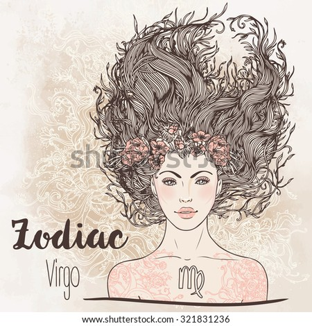 Zodiac: illustration of Virgo astrological sign as a beautiful girl. Vector art.  Vintage boho style fashion illustration. Design for coloring book page for adults and kids. - stock vector