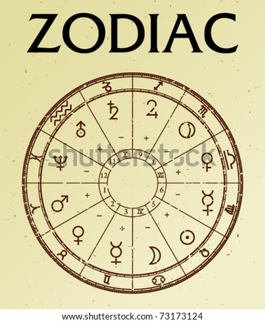 Zodiac on old paper - stock vector