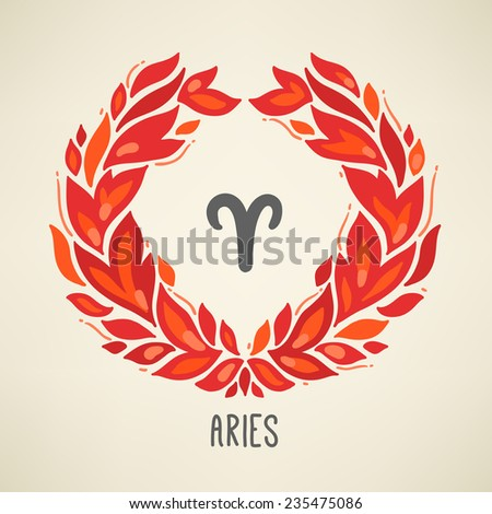 Zodiac sign Aries (The Ram) in Fire element wreath. Part of horoscope zodiac signs collection. Vector illustration. Perfect for calendars, greeting cards, horoscopes - stock vector