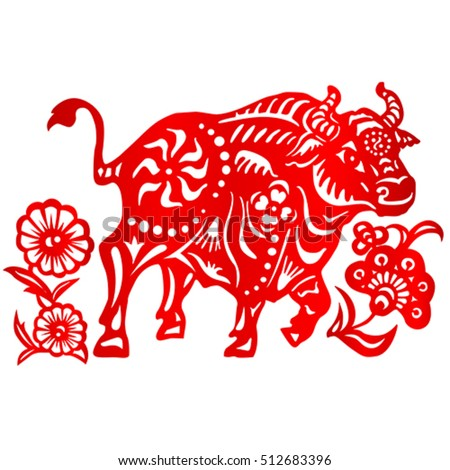 Zodiac Sign for Year of Ox, The Chinese traditional paper-cut art