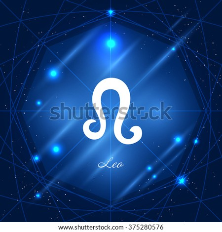 Zodiac sign leo. Vector space background with geometric ornament - stock vector