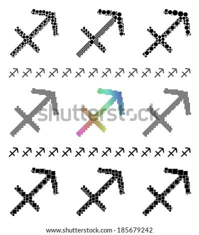 Zodiac sign mosaic set - symbol of Sagittarius (The Archer, Centaur) - stock vector