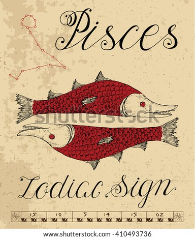 Zodiac sign of Fish or Pisces with constellation. Line art vector illustration of engraved horoscope symbol. Doodle mystic drawing and hand drawn astrology sketch with calligraphic lettering - stock vector