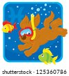Zodiac sign of Pisces as a funny pup diving with colorful fishes, vector illustration - stock vector