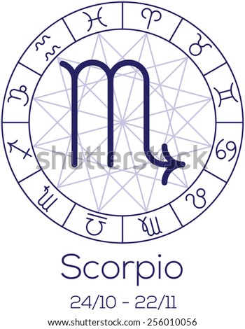Zodiac sign - Scorpio. Astrological chart with symbols in wheel with polygonal background. Deep blue color with caption and dates. Vector illustration. - stock vector