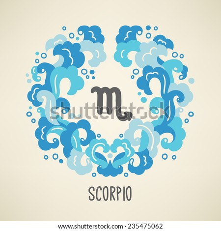 Zodiac sign Scorpio (The Scorpion) in Water element wreath. Part of horoscope zodiac signs collection. Vector illustration. Perfect for calendars, greeting cards, horoscopes - stock vector