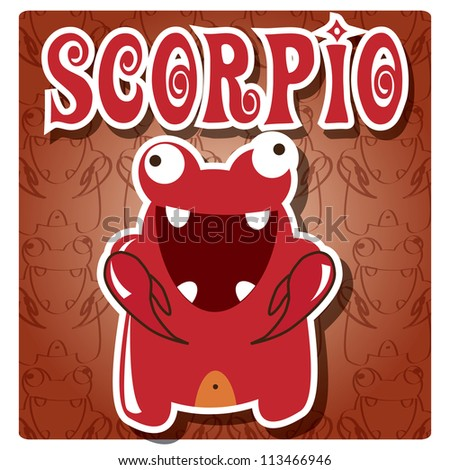 Zodiac sign Scorpio with cute colorful monster, vector