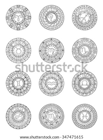 Zodiac Signs Constellations Mandala Ethnic Pattern Stock Vector