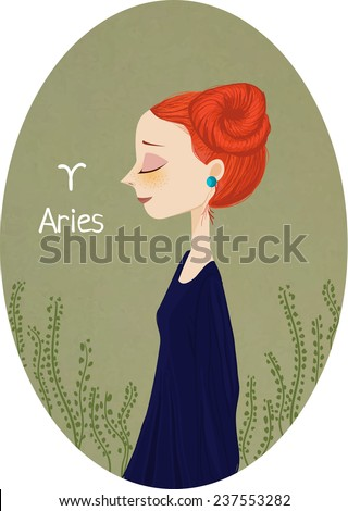 Zodiac signs Aries. Vector illustration of the girl. - stock vector