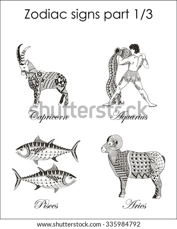 Zodiac signs. Capricorn. Aquarius. Pisces. Aries. Part one. Zentangle stylized. Vector. Illustration. Hand drawn. Freehand pencil. Horoscope. - stock vector