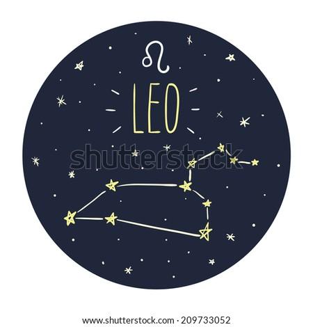 Zodiac signs doodle set - Leo - stock vector