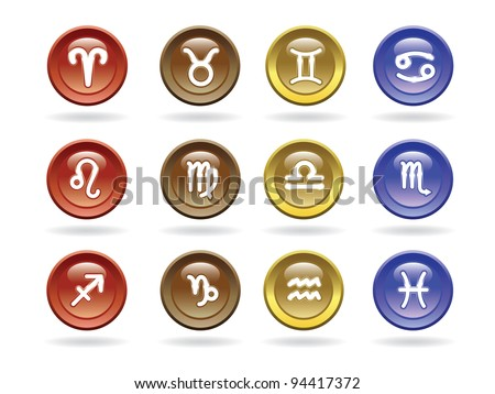 Zodiac signs Glossy icons. Vector illustration.
