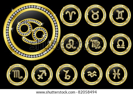 Zodiac signs, golden buttons with diamonds, vector illustration - stock vector