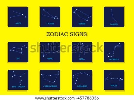 Zodiac signs. Horoscope set Aries, Taurus, Gemini, Cancer, Leo, Virgo, Libra, Scorpius, Sagittarius, Capricornus, Aquarius, Pisces. Vector illustration - stock vector