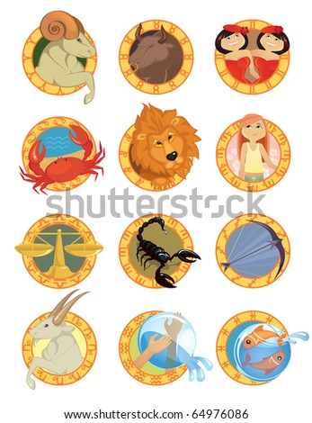 Zodiac signs in cartoon style - stock vector
