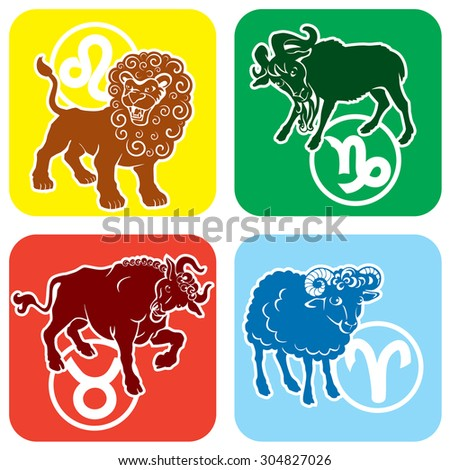 Zodiac signs - Leo, Taurus, Capricorn, Aries. Colored isolated vector image - stock vector