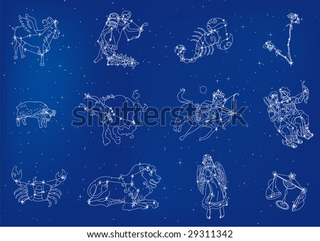 Zodiac signs located in the star sky - stock vector