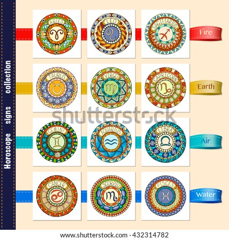 Zodiac signs theme. Set of mandalas with libra zodiac signs. Zentangle inspired mandalas. Hand drawn tribal mandala horoscope symbols for tattoo art, printed media design, stickers, etc. - stock vector