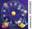 Zodiac signs, vector background - stock photo